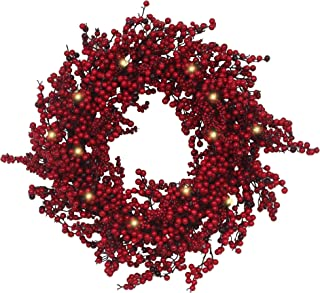 VGIA 26 inches Christmas Wreath Door Wreath Stunning Red Berry Wreath Battery Operated Christmas Decoration