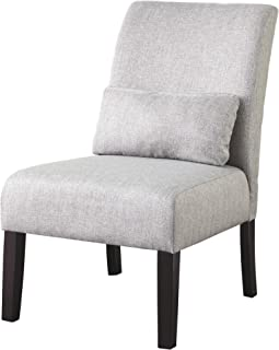 Ashley Furniture Signature Design - Sesto Accent Chair w/ Pillow - Contemporary - Light Gray - Black Finish Legs (Renewed)