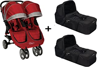 Baby Jogger 2015 City Mini Double Stroller, Crimson/Gray + 2 Baby Jogger Compact Pram Bassinet Black Complete Set