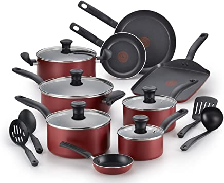 T-fal A777SI64 Initiatives Nonstick Inside and Out Dishwasher Safe Cookware Set, 18-