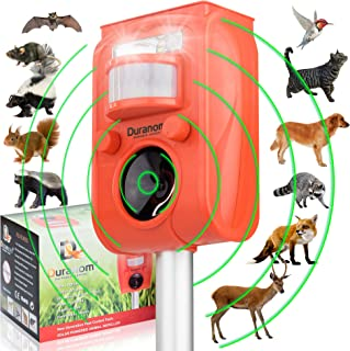 DURANOM 2 Ultrasonic Animal Repeller Outdoor - Cat Deer Repellent Solar Powered - Motion Sensor Activated Flashing Light - Sonic Alarm Sound Pest Control - Pir Chaser Device, USB and Batteries Incl.