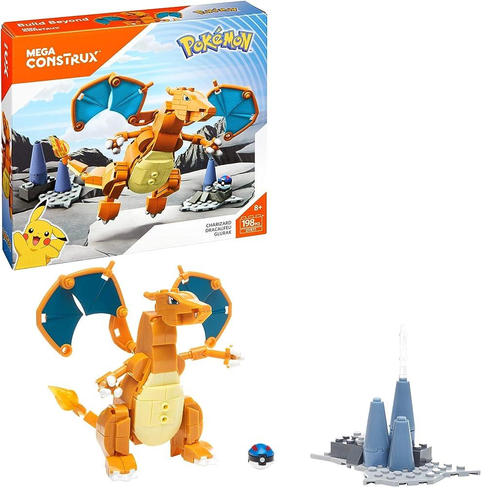 Mattel, mega construx pokemon playset personaggio charizard DYR77