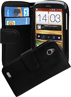Cadorabo Book Case works with HTC DESIRE X in OXID BLACK - with Stand Function and Card Slot made of Smooth Faux Leather -...