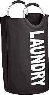 Amazon Basics Panier à linge en tissu avec poignée en aluminium, Noir