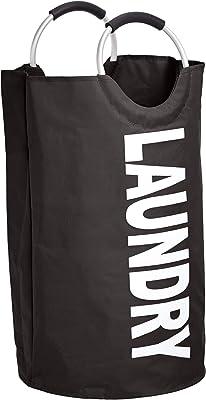 AmazonBasics Fabric Laundry Basket Hamper with Aluminum Handle, Black