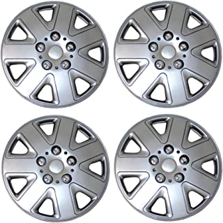 Tuningpros WC3-15-1026-S - Pack of 4 Hubcaps - 15-Inches Style 1026 Snap-On (Pop-On) Type Metallic Silver Wheel Covers Hub-caps