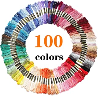 Laojbaba Rainbow Color Embroidery Floss 100 skeins, Cross Stitch Thread,Bracelets Floss, Crafts Floss,Stitch Threads