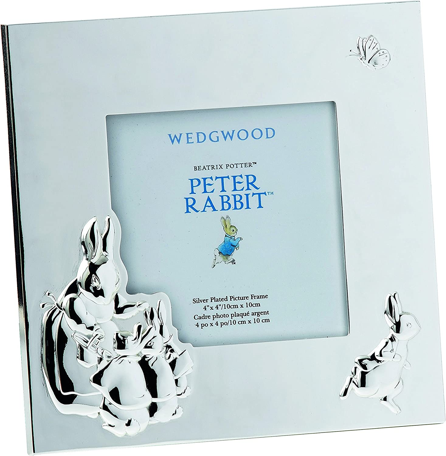 Wedgwood Peter Rabbit Picture Frame, 3.5 by 3.5 , Silver