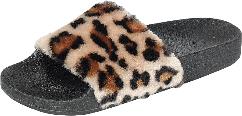 Forever Link Women's Faux Fur Slip on Flip Flop Slide Sandal