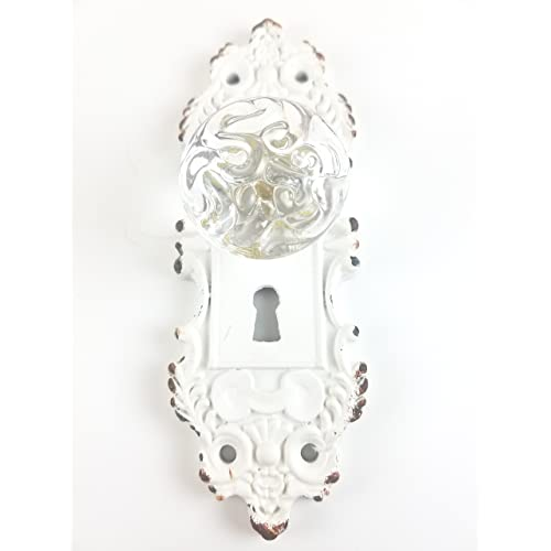 Tripar Decorative Pewter Wall Hook Vintage Door Knob Style Cream White