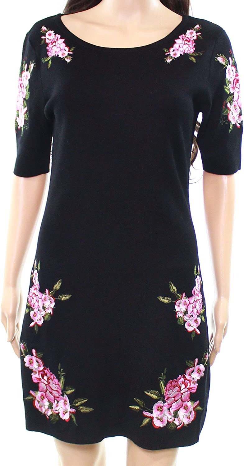 INC Womens Embroidered Sweater Dress