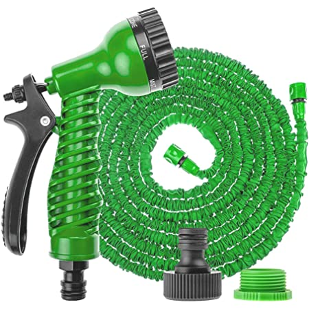PLASTIFIC Garden Hose Pipe Expandable Garden Hose Anti-Leakage - Flexible Expanding Hose with 8 Function Spray Nozzle (75 FT, Green)
