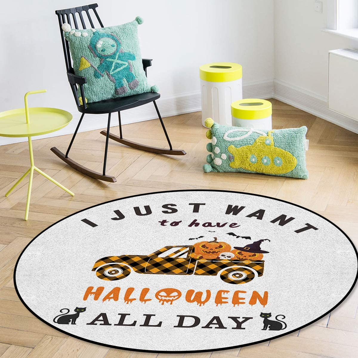 Indoor Area Rugs I Just Want To Have Halloween All Day Plaid 55% OFF Large discharge sale Tr
