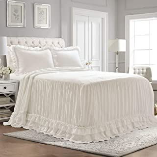 Lush Decor Ella Shabby Chic Ruffle Lace Bedspread White Farmhouse Style Lightweight 3 Piece Set Queen