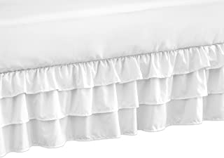 Solid Color White Shabby Chic Girl Ruffled Tiered Crib Bed Skirt Dust Ruffle for Harper Collection by Sweet Jojo Designs