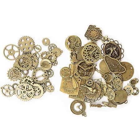 KIMI-HOSI 100g Vintage Steampunk Engrenages Metal Gears Horloge Montre Roues Pendentif Charms Gears Bijoux de Bricolage pour Décorer les Bracelets Collier Chapeau - Bronze