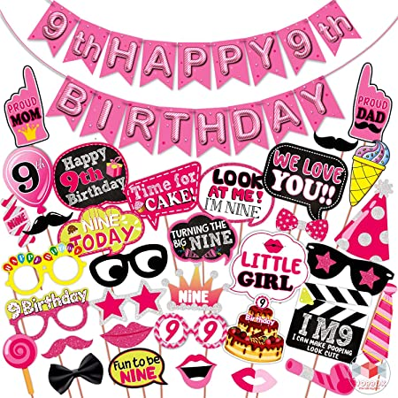 WOBBOX Ninth Birthday Photo Booth Party Props Pink for Baby Girl with 9th Birthday Bunting Banner for Baby Girl in Pink, 9th Birthday Decorations for Girl, Kids Birthday Party Decoration Items