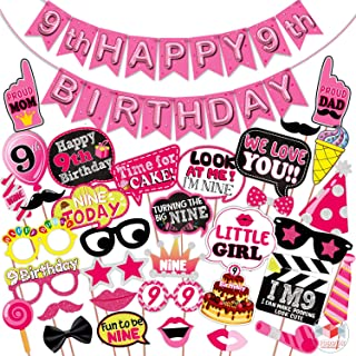 WOBBOX Ninth Birthday Photo Booth Party Props Pink for Baby Girl with 9th Birthday Bunting Banner for Baby Girl in Pink, 9...