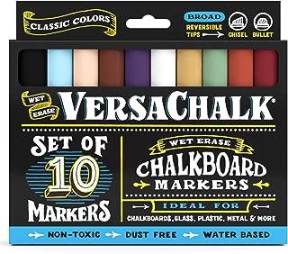 Classic Liquid Chalk Ink Chalkboard Markers by VersaChalk - Wet Erase Chalk Pens for Chalkboard Sign, Blackboard, Dry Erase Board (5mm Bold Reversible Tip)
