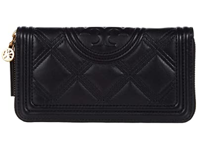 Tory Burch Fleming Soft Zip Continental Wallet (Black) Bags
