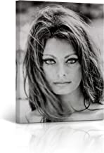 Beautiful Sophia Loren Amazing Face Black and White Wall Art Icon Art Canvas Print Home Decor Wrapped and Stretched - Ready to Hang -%100 Handmade in The USA - 12x8