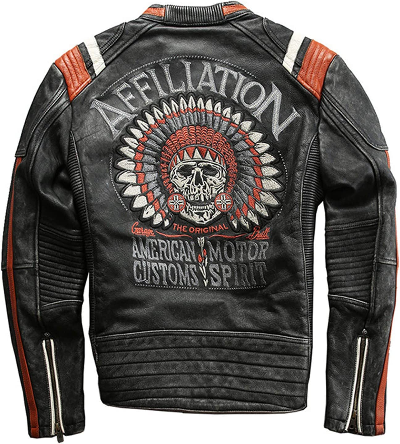 HTABY Cowhide Leather Jacket Men's Embroidery Wings Skull Face Jackets,Gray,3XL