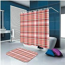 AMDXD Bathroom Set Curtain Mats Accessories Lattice Red Shower Curtain 3D Bathroom Mat Nonslip 180x180CM