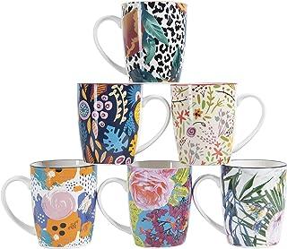 Cooper & Co. Floral Ceramic Coffee Mugs, Microwave Dishwasher Freezer Safe 6 Piece Set