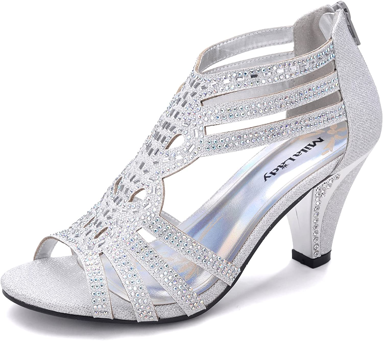Mila Lady Woherrar Lexie Crystal Crystal Crystal Glitter Dress Heeled Sandals skor, Kimi 25  grossist billig