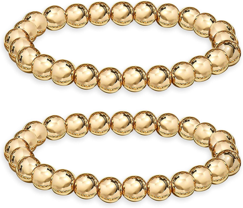 HZEYN Gold Beaded Bracelets for Women Stackable 14K Gold Plated Brass Bead Ball Stretch Bracelet Bangle for Women Men 10mm 8mm 6mm