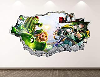 West Mountain Plants Vs Zombies Wall Decal Art Decor 3D Smashed Kids Game Sticker Mural Nursery Boys Gift BL14 (22