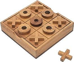SiamMandalay Wooden Tic Tac Toe Set - Wood XOXO Board Game