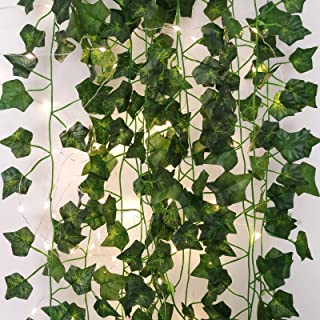 Greentime 12 Pack Artificial Ivy Leaf Plants Vine with 100 LED String Light Faux 87 Feet Greenery Hanging Ivy Garland for ...