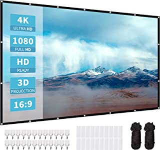 120 Inch Projector Screen, softeen High Definition Projection Screen, 16:9 Portable Movies Screen with 180° Visual Angle, ...