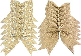 Aokbean 12 pcs Snowflakes Natual Burlap Bows Christmas Tree Topper Bow Rustic Wedding Decor Burlap or DIY Supplies … (Burlap+Snowflakes)