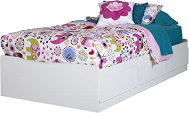 South Shore Logik Twin Mates Bed (39'') with 3 Drawers, Pure White