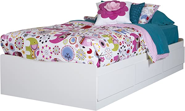 South Shore 10055 Logik Twin Mates Bed 39 With 3 Drawers Pure White
