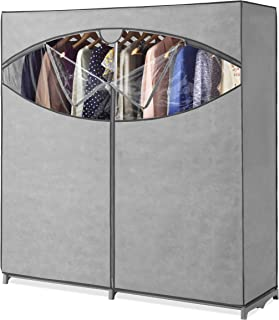 Whitmor Portable Wardrobe Clothes Storage Organizer Closet with Hanging Rack - Extra Wide -Grey Color - No-tool Assembly -...