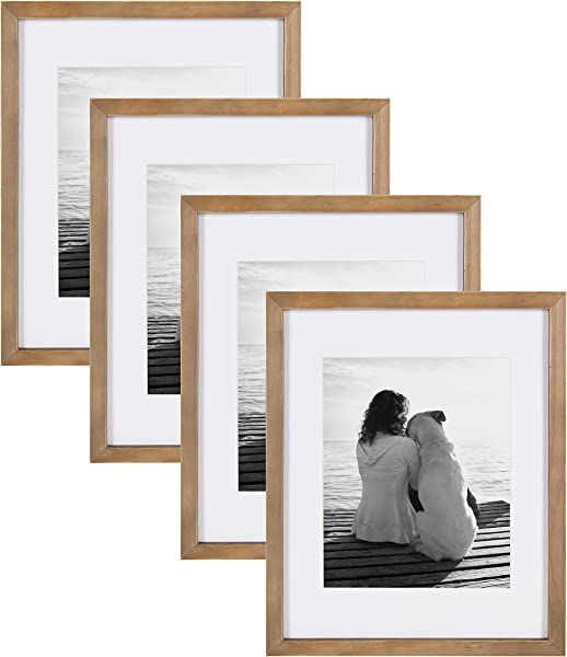 DesignOvation Gallery Wood Photo Frame Set For Customizable Wall Display Pack Of 4 11x14 Matted To 8x10 Rustic Brown