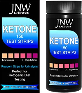 Ketone Test Strips, 150 Urinalysis Keto Test Strips for Testing Body Urine Ketosis Levels, Perfect Kit for Ketogenic and Weight Loss Diets, Free App & Ebook Included