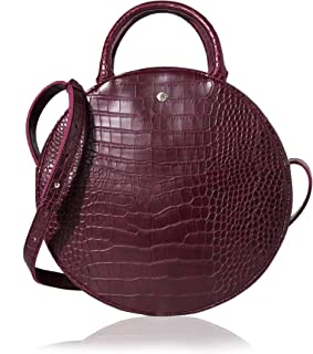 Canteen Purse Circle Crossbody Bag for Women Big Round Handbag Satchel by The Lovely Tote Co.