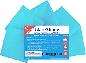 GlareShade Fluorescent Light Filter Diffuser Covers (5 Pack; Blue Color). Eliminate Harsh Glare That Causes Eyestrain and Headaches at Work and School While Improving Focus and Classroom Management.