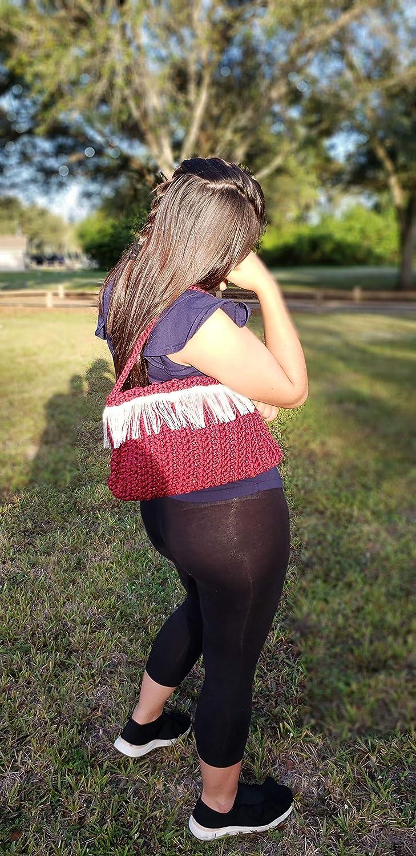 Challenge the lowest price of Japan ☆ Handmade Burgundy half handbag Crochet