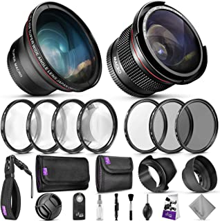 58mm Altura Photo Professional Accessory Kit for Canon EOS Rebel DSLR – Bundle with Wide Angle & Fisheye Lens, Filter Kit...