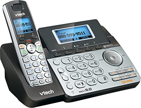 Amazon Com Vtech Ds6151 2 Line Cordless Phone System For Home Or Small Business With Digital Answering System Mailbox On Each Line Black Silver Electronics