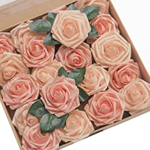Ling's moment Artificial Flowers Shimmer Blush & Peach Roses 50pcs Real Looking Fake Roses w/Stem for DIY Wedding Bouquets Centerpieces Arrangements Party Baby Shower Home Decorations