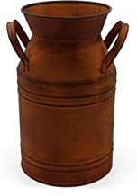 CVHOMEDECO. 10 Inch Rusty Milk Can, Country Rustic Primitive Metal Jug Vase for Home and Garden Décor.