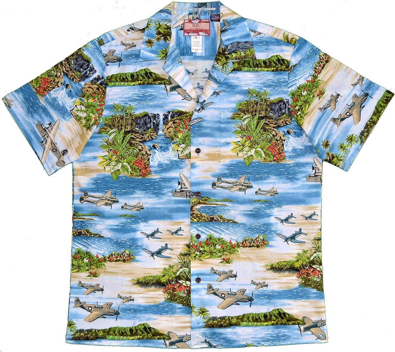 RJC Men's Hawaiian Island Airplane Shirt