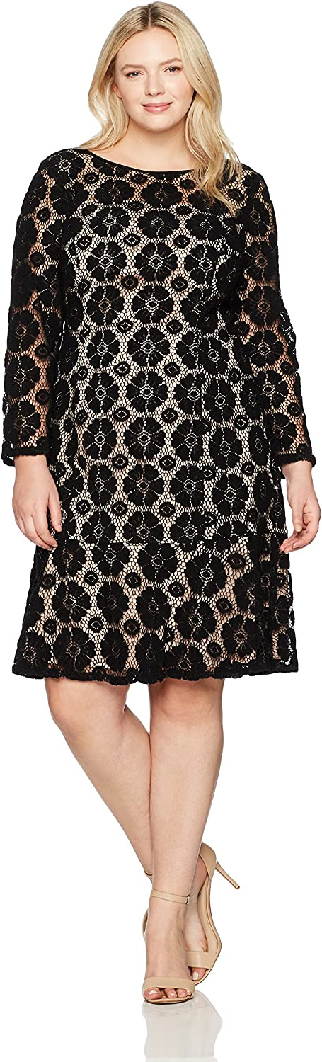 Adrianna Papell Womens Plus Textured Florl Lace Flounce Dress Dress