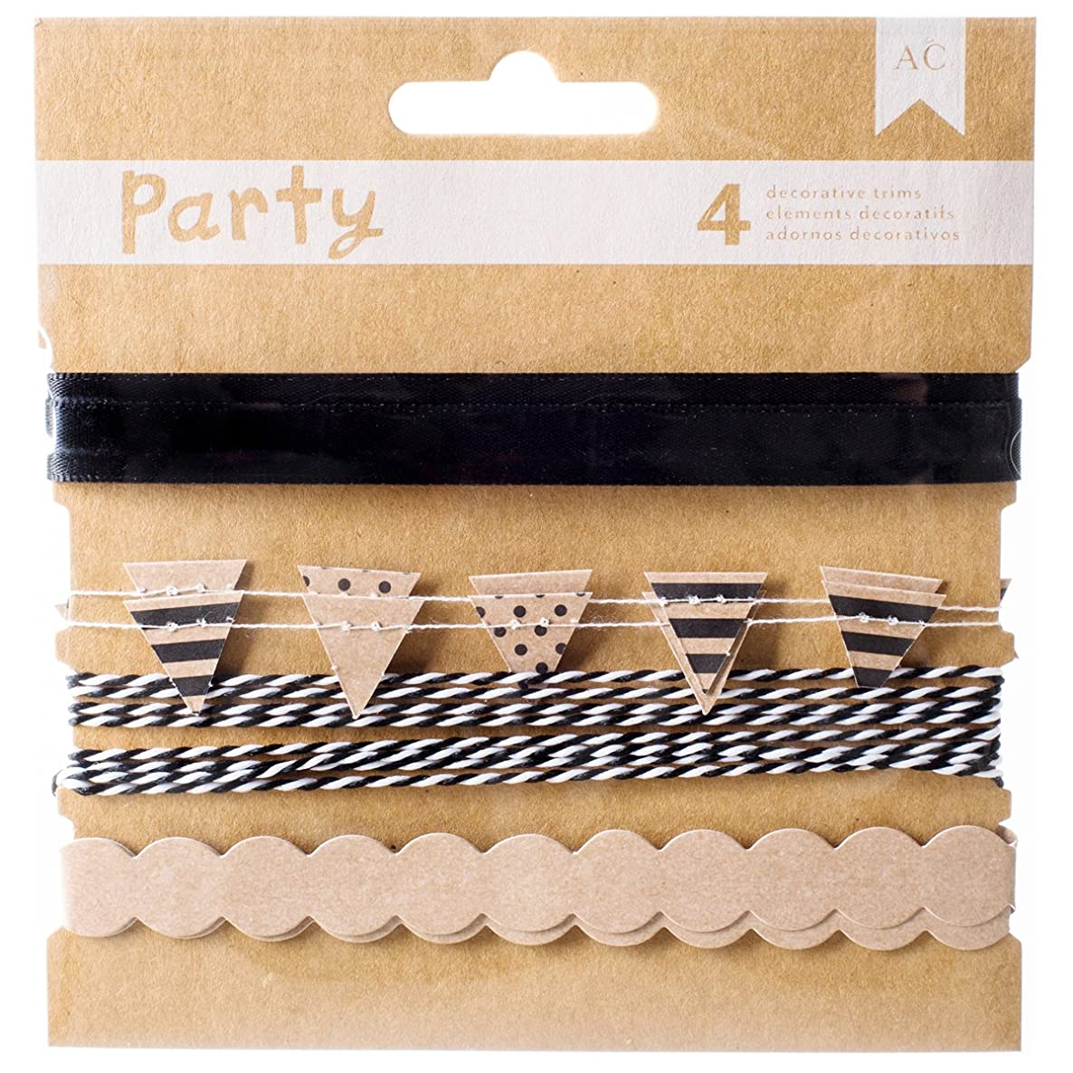 American Crafts DIY Party Decorative Trims (4 Pack), Black and Kraft